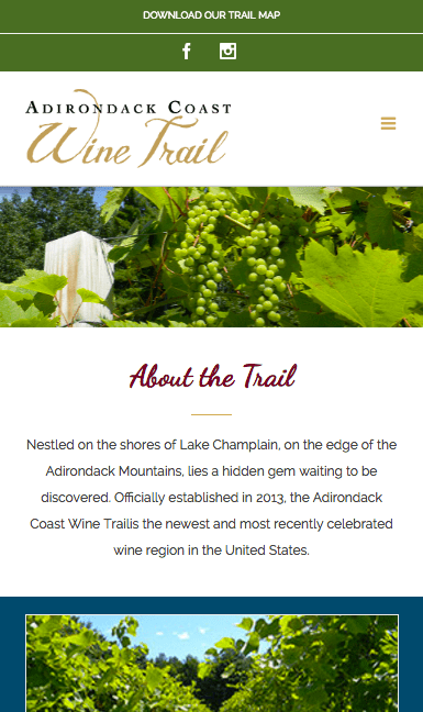 Adirondack Coast Wine Trail on mobile
